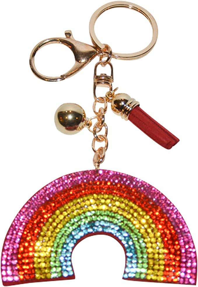 Crazy Happy Rainbow Keyring is a positive and colourful keychain from Claraluna Ibiza A lovely Rainbow Gift. Rainbow Enamel Keychain