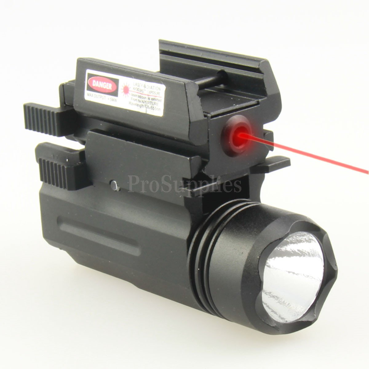 TACFUN Tactical QD Quick Release Flash Light Flashlight + Compact Red Laser COMBO SET