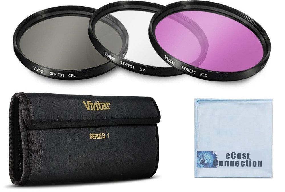 Vivitar 3 Piece UV / CPL / FLD 52mm Filter Kit for Nikon D3200, D5000, D5100, D5200, D5300, D7000, D7100, D1H, D2H, D2X, D3, D3S, D3X, D4 Cameras &More + eCost Microfiber Cloth viv52mm