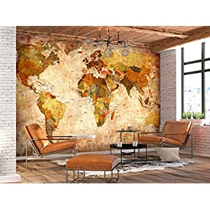 murando – Fotomural Vintage 400×280 cm – Papel tejido-no tejido – Papel pintado – mapa mundi k-A-0315-a-a