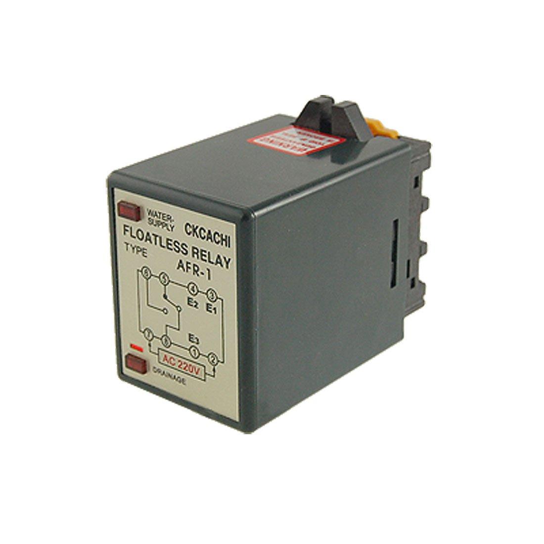 Sourcingmap®, interruptor de control del sensor de nivel de líquido de agua CA 220V, relé sin flotador AFR-1 con toma de corriente. a11032500ux0259