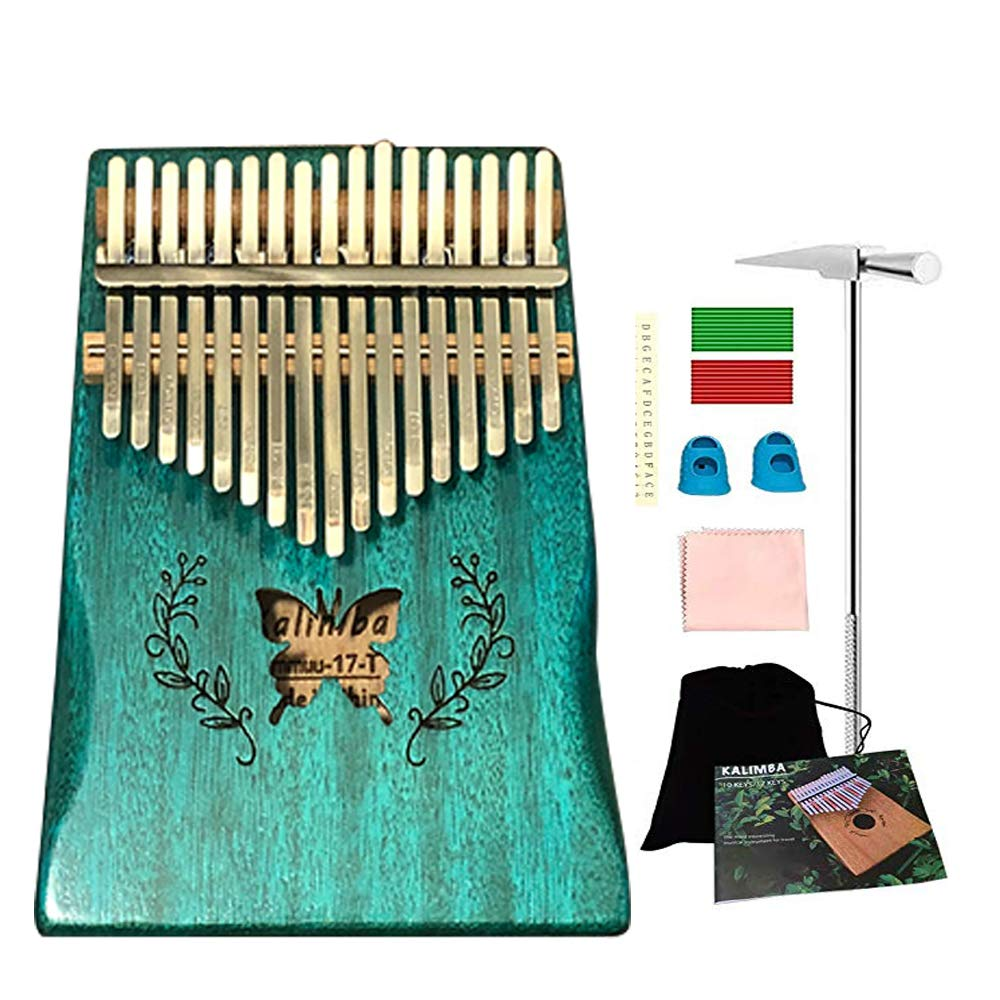 Ationgle Luxury Kalimba,17 Keys Thumb Piano Include Tuning kit Hammer and Study Instruction,Gift for Kids Adult Beginners Professional(Blue Butterfly)