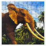 Mosaic Puzzles Wooden Jigsaw Puzzle – African Elephant – 101 Unique Pieces Challenge any Puzzle Lover from ages 8 to 98 – Made in the USA by Zen Art & Design