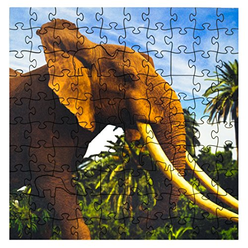 Mosaic Puzzles Wooden Jigsaw Puzzle – African Elephant – 101 Unique Pieces Challenge any Puzzle Lover from ages 8 to 98 – Made in the USA by Zen Art & Design by Mosaic Puzzles