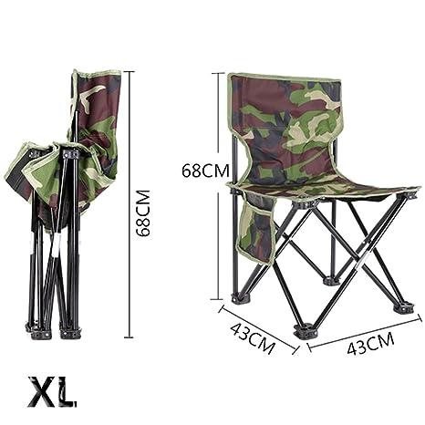 PROKTH Silla Plegable al Aire Libre Silla de Pesca Silla de Camping Silla de Playa Silla de Picnic BBQ Camuflaje Taburete Plegable XL