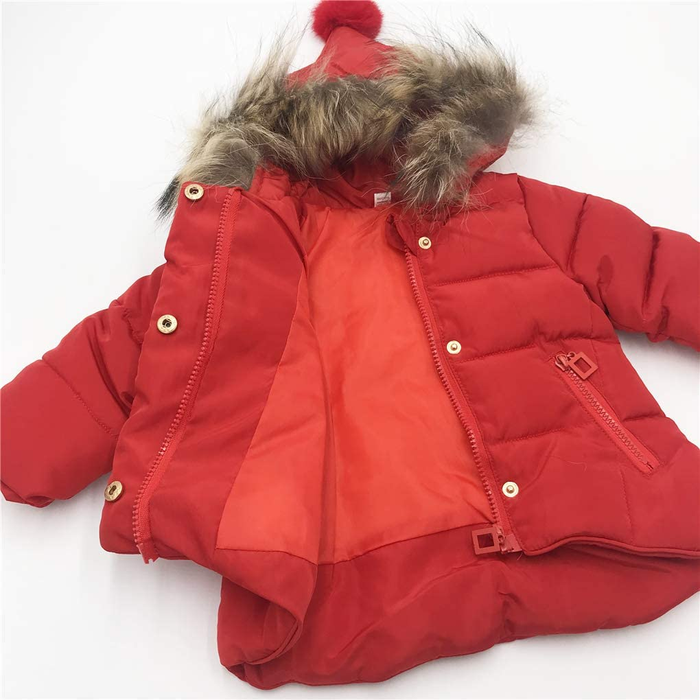 Toddler Boys Girls Fur Collar Hooded Down Jacket Coat Windproof Snowsuit Outerwear