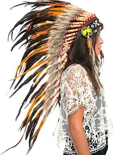 ca8f0b97 The Sounding Iron Feather Headdress | Native American Indian Style | Many  Colors