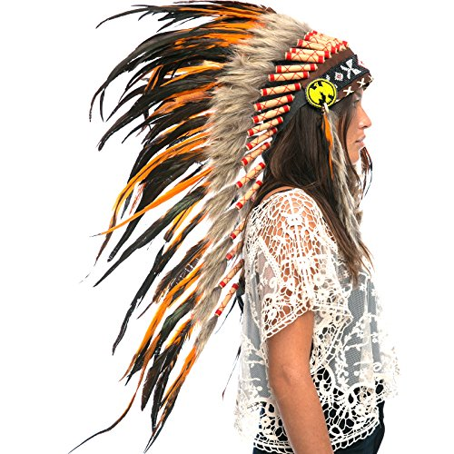 Long Feather Headdress- Native American Indian Inspired- Handmade by Artisan Halloween Costume for Men Women with Real Feathers - Orange -