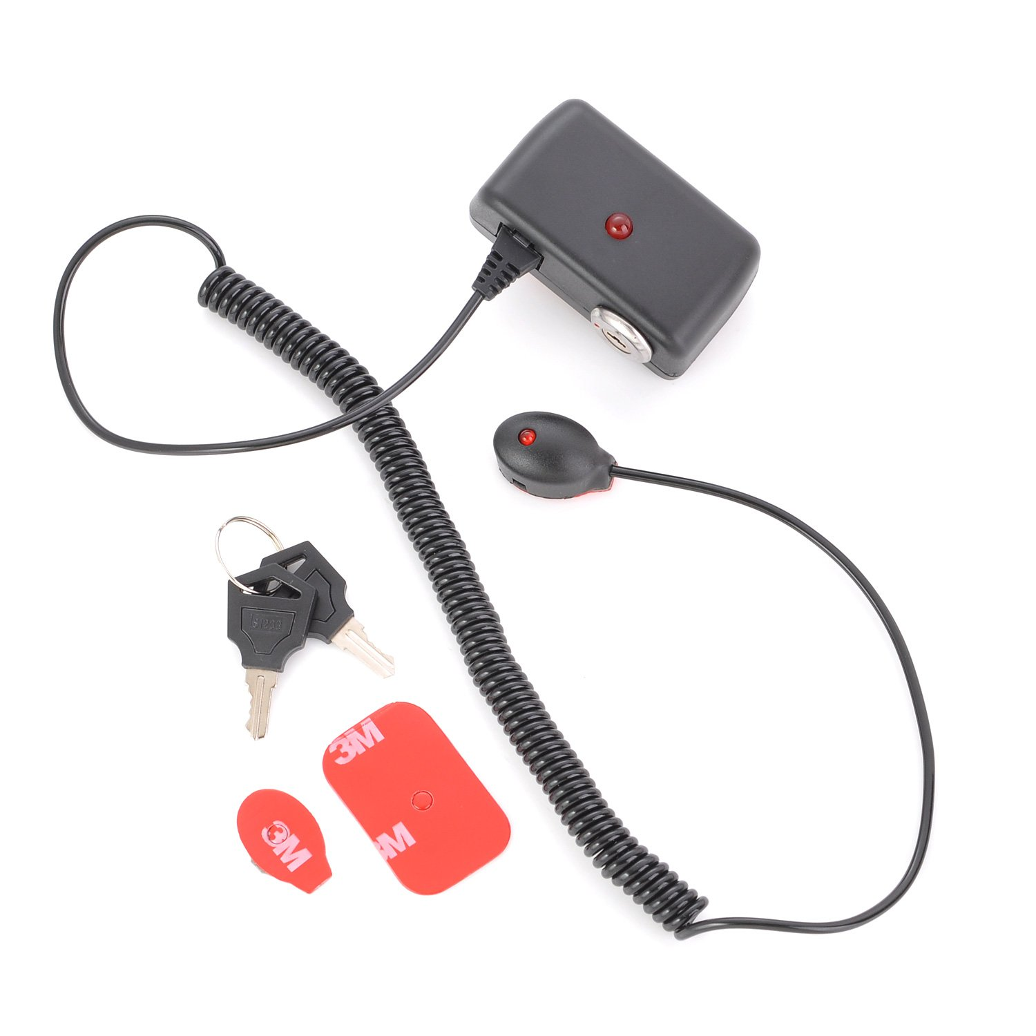 123lockz [Black] Retail Security Anti-Theft Mini Loop Alarm with Coiled Cable for Shop Display Merchandise