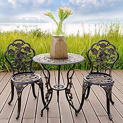 Conjunto de Muebles Exterior Bistro Hierro Mesa + 2 sillas Look Antiguo Muebles para jardín, terraza, balcón: Amazon.es: Deportes y aire libre