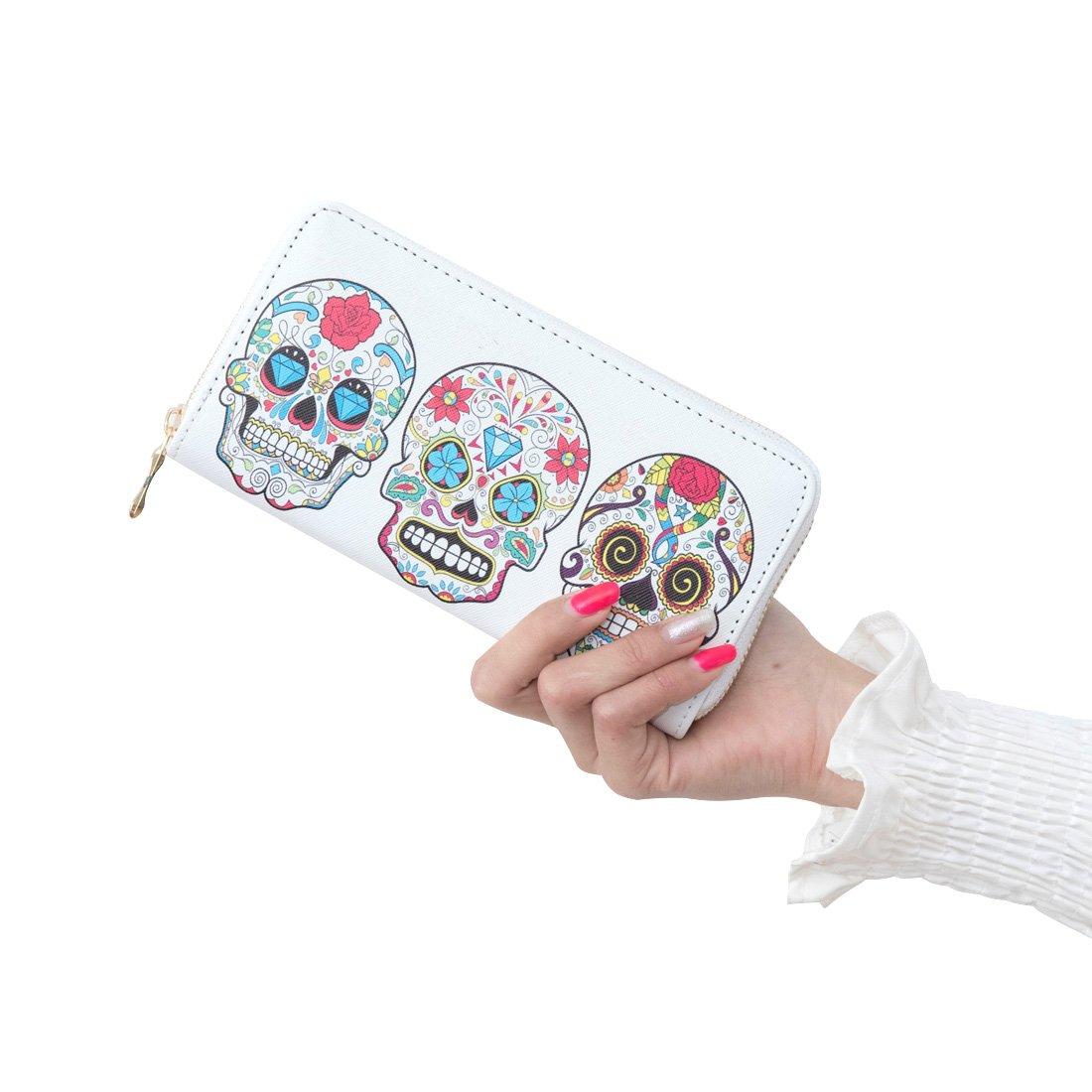 Badiya 3 Pretty Sugar Skull Wallet for Women Vintage Clutch Bag