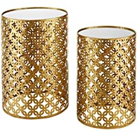 Set of Two Contemporary Round Gold Nested Tables with Mirror Tops (OSLN). Glamorous Design and Style in Gold Leaf Finish Nesting Tables. Assembly Required