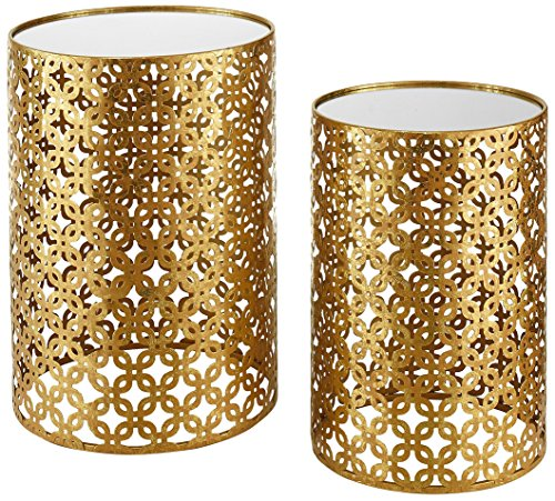 Set of Two Contemporary Round Gold Nested Tables with Mirror Tops (OSLN). Glamorous Design and Style in Gold Leaf Finish Nesting Tables. Assembly Required by Oh! Home