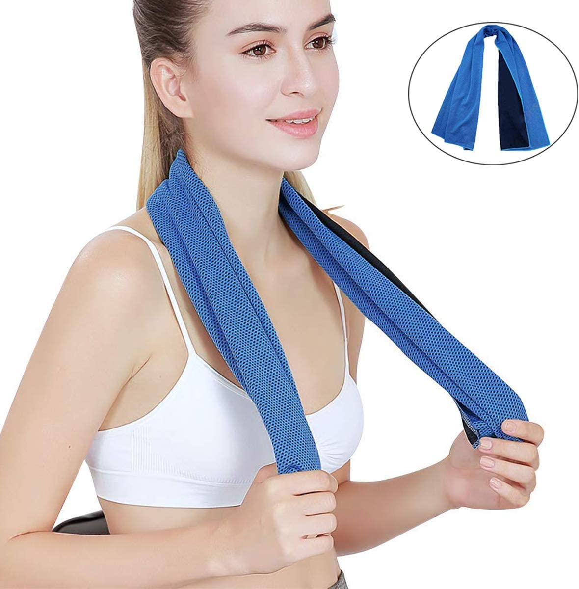 """AUBNICO Cooling Towel (40""""x12""""), Ice Towel for Neck, Soft Breathable Chilly Towel, Microfiber Towel for Yoga, Sport, Running, Gym, Workout,Camping, Fitness, Workout & More Activities MJ-0003"""