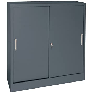 counter height sliding door storage cabinet charcoal paint - Paint Storage Cabinets