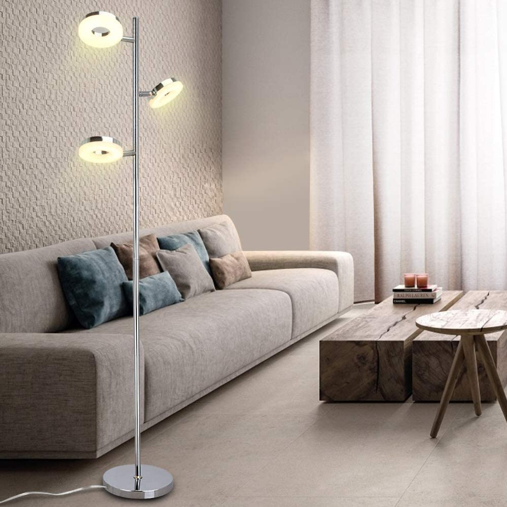 Bedside,Office Eye Care Trunk-Shaped Reading Standing Lamps for Living Room Chrome 3 * 4W LED Floor Lamp 3000k Warm White Floor Light Bedroom Rotatable Standard Pole Light with Plastic Lamp Cover