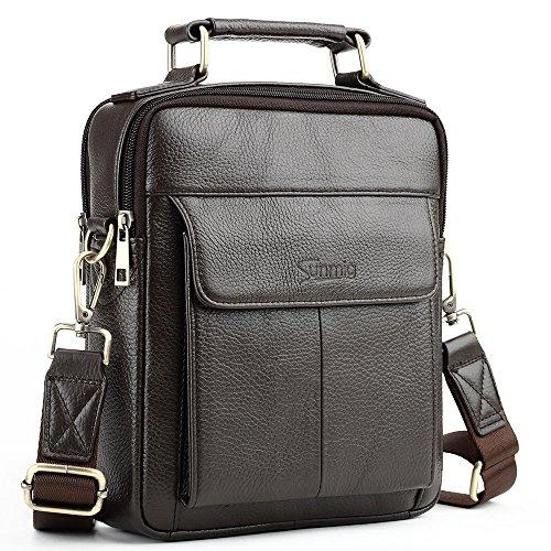 Sunmig Mens Genuine Leather Shoulder Bag Messenger Briefcase CrossBody Handbag (Coffee)