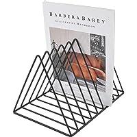 Vinyl Record Holder Storage, Black Metal Magazine Book Album Display Rack, Stylish Triangle Desktop File Sorter…