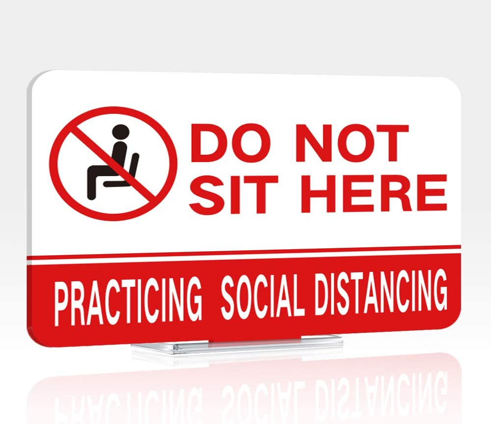 Do Not Sit Here Sign Double Sided Printed Practicing Social Distancing Sign 5.5
