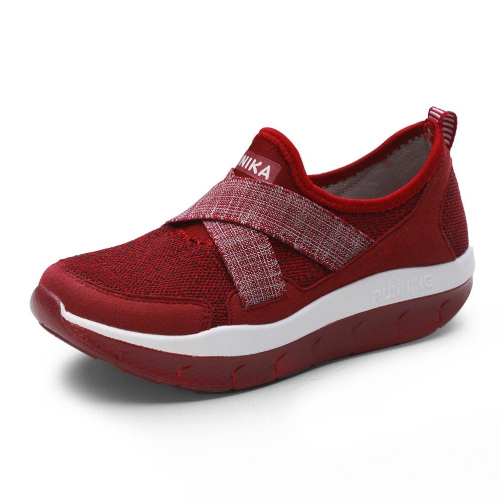 Femme Basket Creepers Chaussure Compensé pour Mère Marche Maille Pied Large Sneakers sans Lacet Respirant Confortable 35-44(Recommandez la Taille Un de Plus)