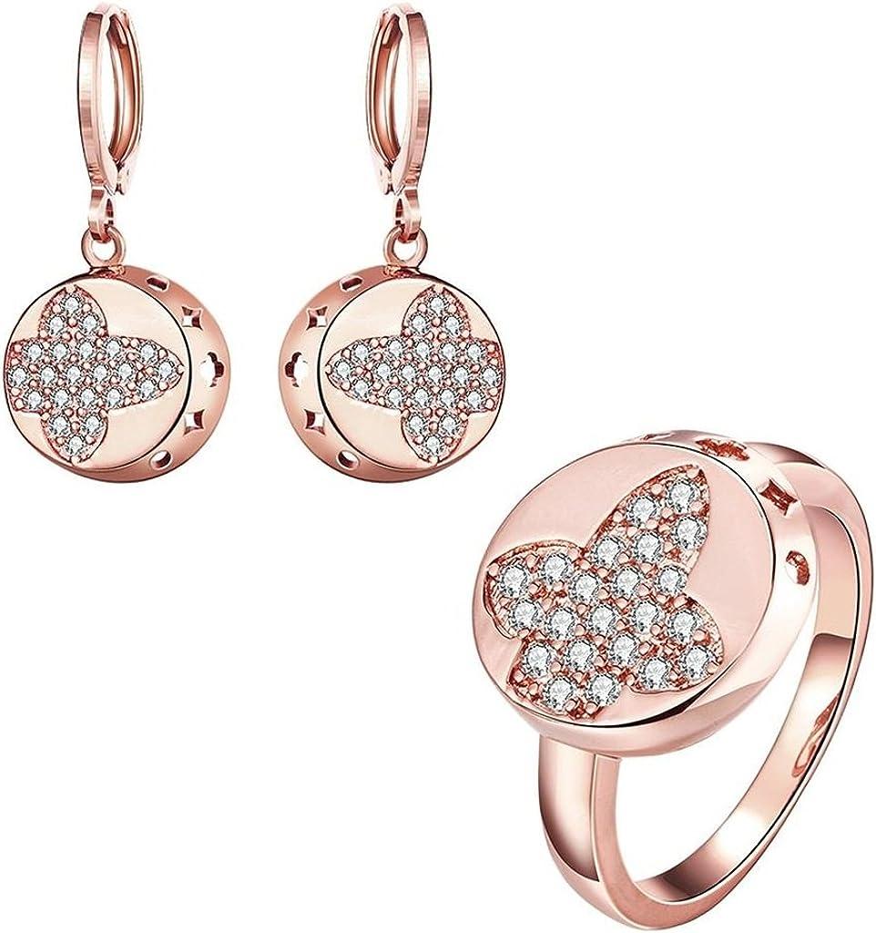 AMDXD Mujer Jewelry Set Aretes Collar Anillos Chapado en oro AAA elementos de la SWA Crystal Size 17