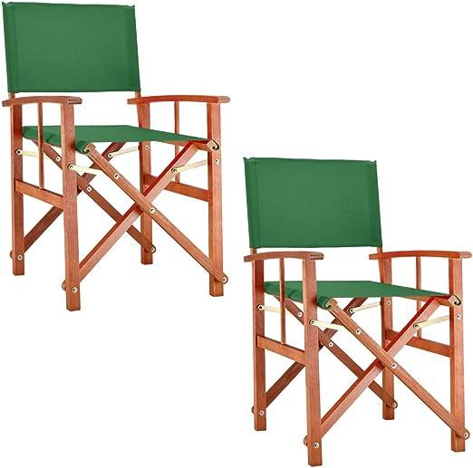 Deuba Set de 2X sillas Plegables Cannes Verde de Madera de ...