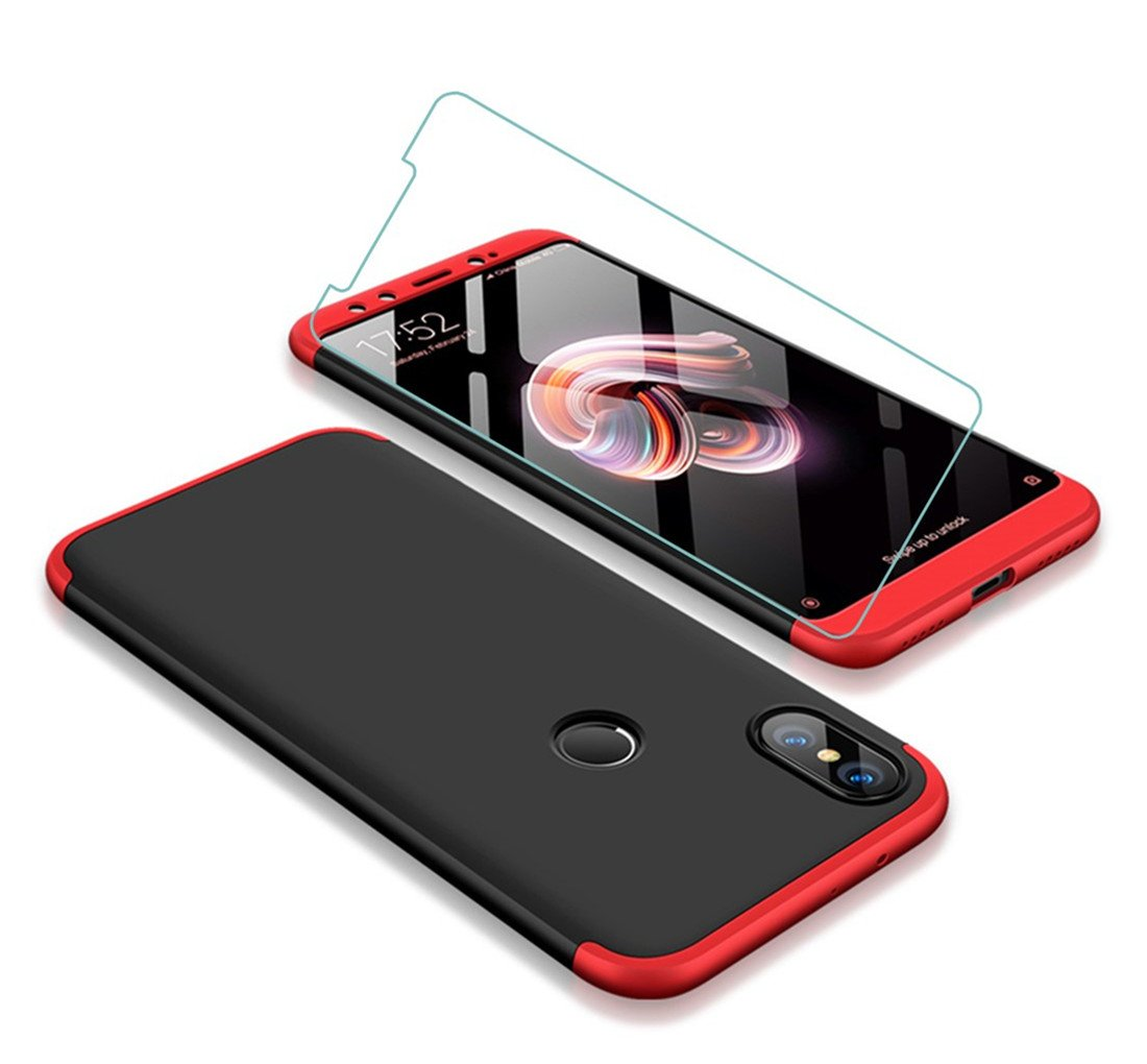 JOYTAG compatibles para Funda Xiaomi Mi A2/Mi 6X 360 Grados Caja 3 en 1 PC Case + Protectora de película de Vidrio Templado-Rojo Negro
