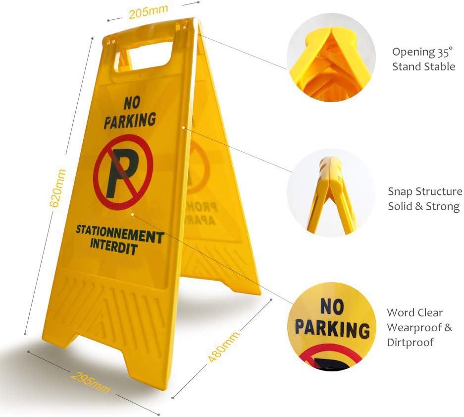 Lot de 3 Pi/èces-Double Face Autocollant au Dos Panneaux de Signalisation Interdiction de Stationner Panneau Stationnement Interdit Plastique Rigide