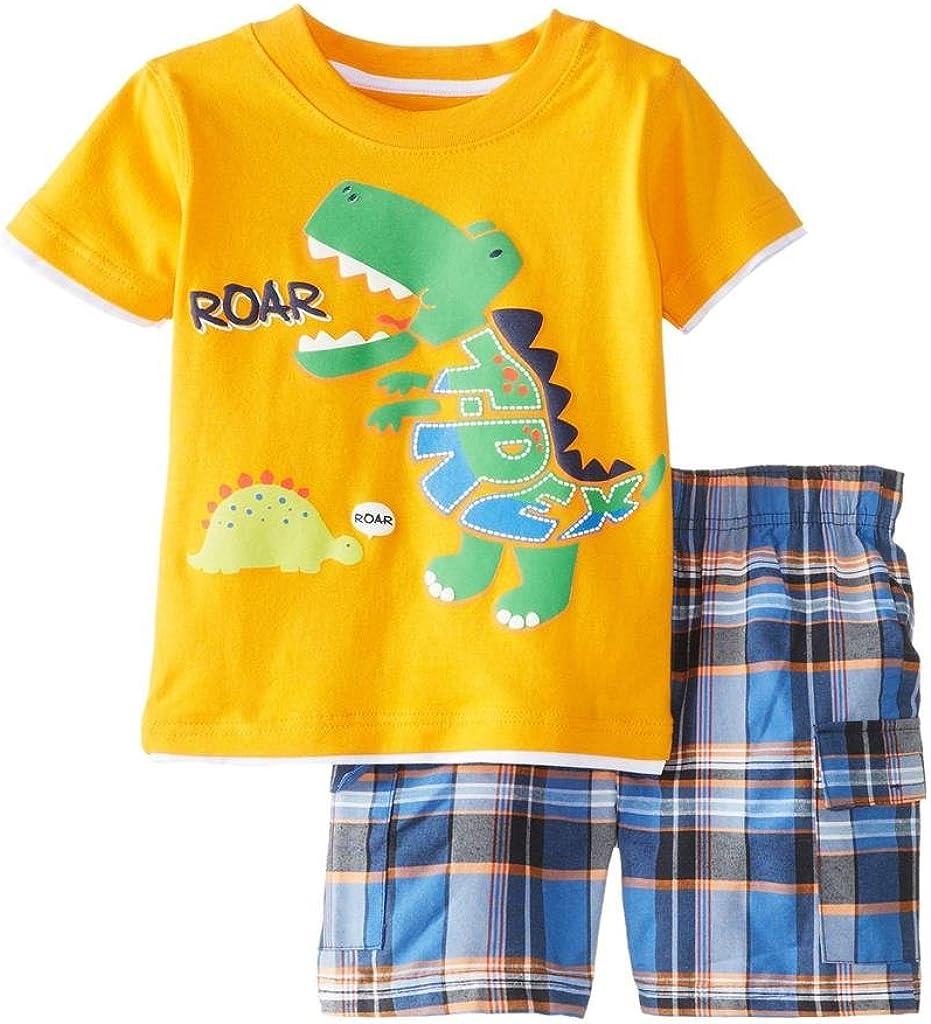 da 12 mesi a 7 anni Coralup Set di 2 t-shirt e pantaloncini da bambino a maniche corte in cotone