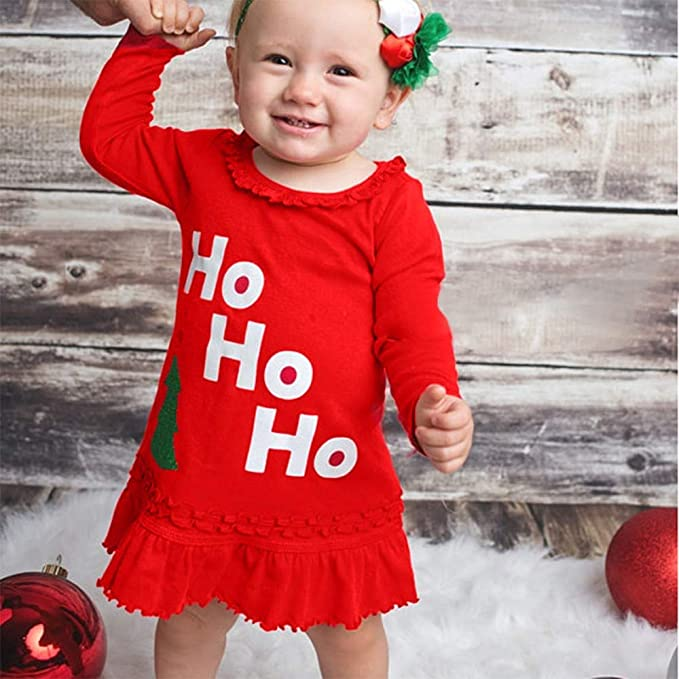 KONFA Toddler Baby Girls Christmas Tree Letter Dress,for 0-4 Years,Little Princess Xmas Ruched Skirt Clothing Set