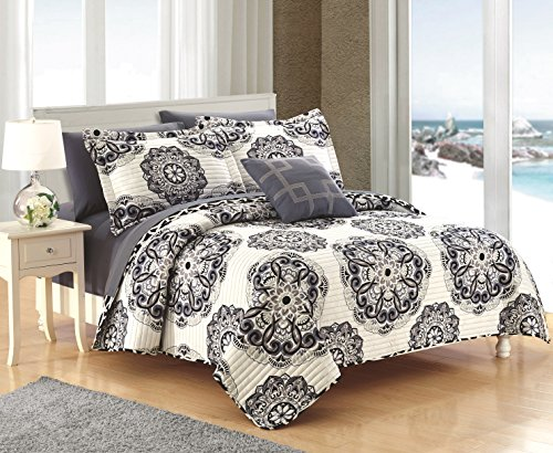 Chic Home Madrid 4 Piece Reversible Quilt Set Super Soft Microfiber Large Printed Medallion Design with Geometric Patterned Backing Bedding Set with Decorative Pillow and Sham, King Black