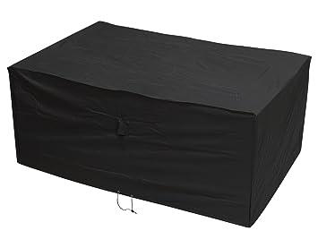 Woodside Heavy Duty Waterproof Garden Rattan Cube Set Cover BLACK 135x135x74cm