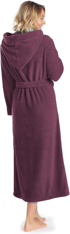 aqua-textil Malibu Bathrobe Hooded Plain Long Patched Pockets Women Men Unisex Microfibre Coral-Fleece XS-XXXL
