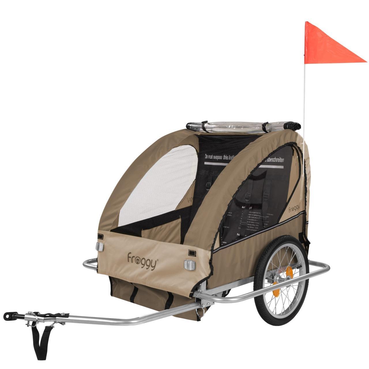 Froggy Kinderfahrradanhänger Fahrradanhänger für 1 oder 2 Kinder mit Universal-Kupplung 5-Punkt Sicherheitsgurte Ablagefach Stahl klappbar Safary