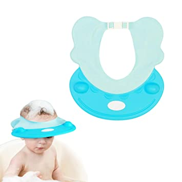 9226672c93a Amazon.com   Baby Shower Cap Metable Shampoo Shield Bathing Protector  Adjustable Visor Hat for Kids Children Wash Hair (Blue)   Baby