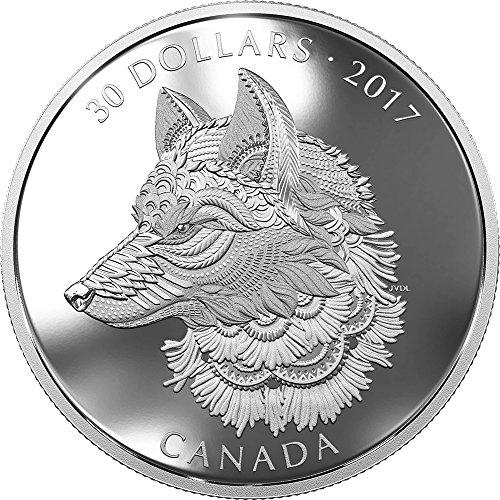 2017 CA Modern Commemorative GREAT GREY WOLF Zentangle Art 2 Oz Silver Coin 30$ Canada 2017 Proof