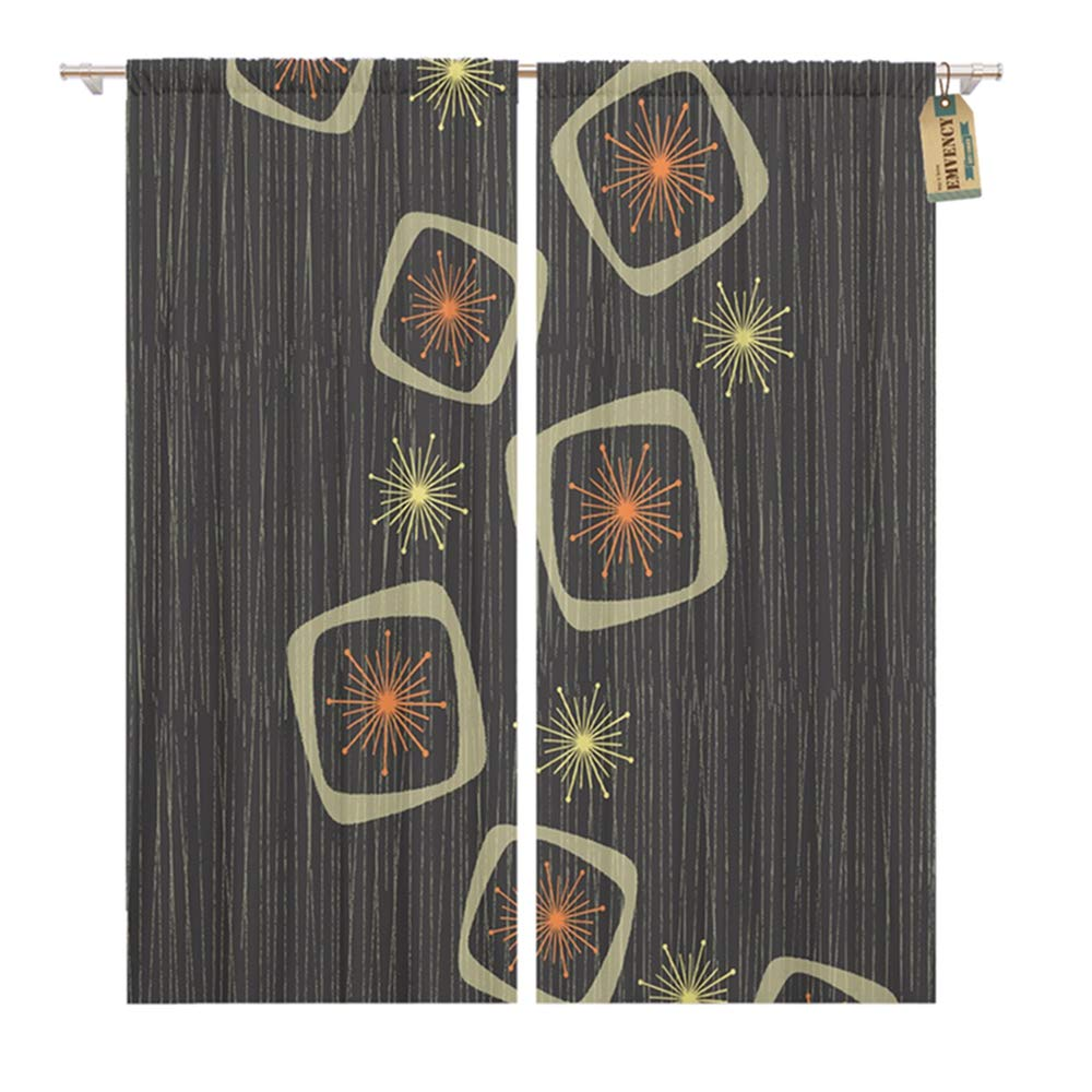 "Emvency Thermal Blackout Curtains/Drapes Set of 2 Panels (52"" W x 63"" L) Vintage Atomic Stars Boxes On Line Inspired Mid Century Modern Window Curtains Living Room"