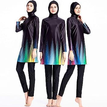 b8e75328fcd ziyimaoyi Women Plus Size Floral Muslim Swimwear Islamic Swimsuit Muslimah  Swimming Surf Costume Burkini (S