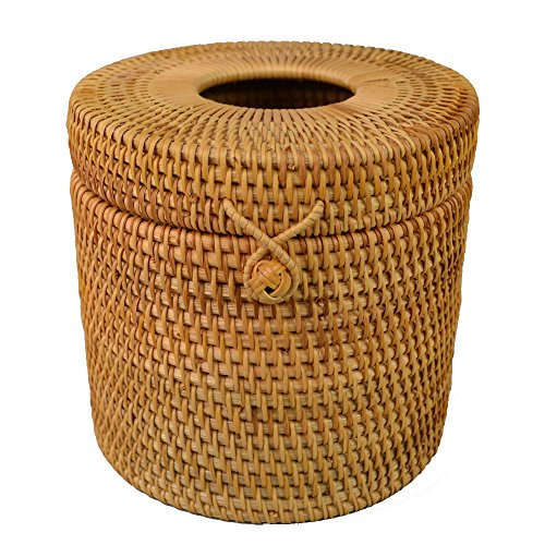 Round Rattan Tissue Box Vine Roll Holder Toilet Paper Cover Dispenser for Barthroom,Home,Hotel and Office