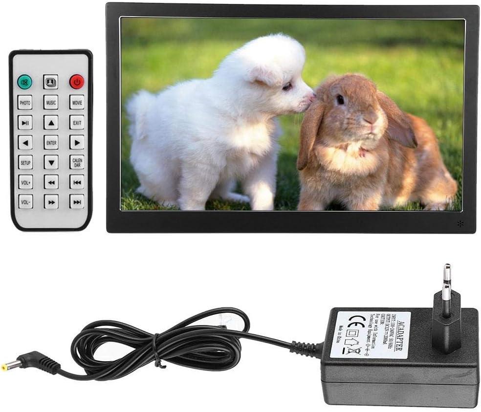 EU AC100-240V calendrier de r/éveil de 15,6 pouces 1920 * 1080 HD IPS /écran cadre de photo en m/étal num/érique avec fonction de lecture de musique horloge de calendrier vid/éo Cadre de photo en m/étal