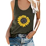 Womens Tank Tops Plus Size Loose Fit Sunflower Print Crew Neck Casual Graphic T-Shirts Sleeveless Tee Tops