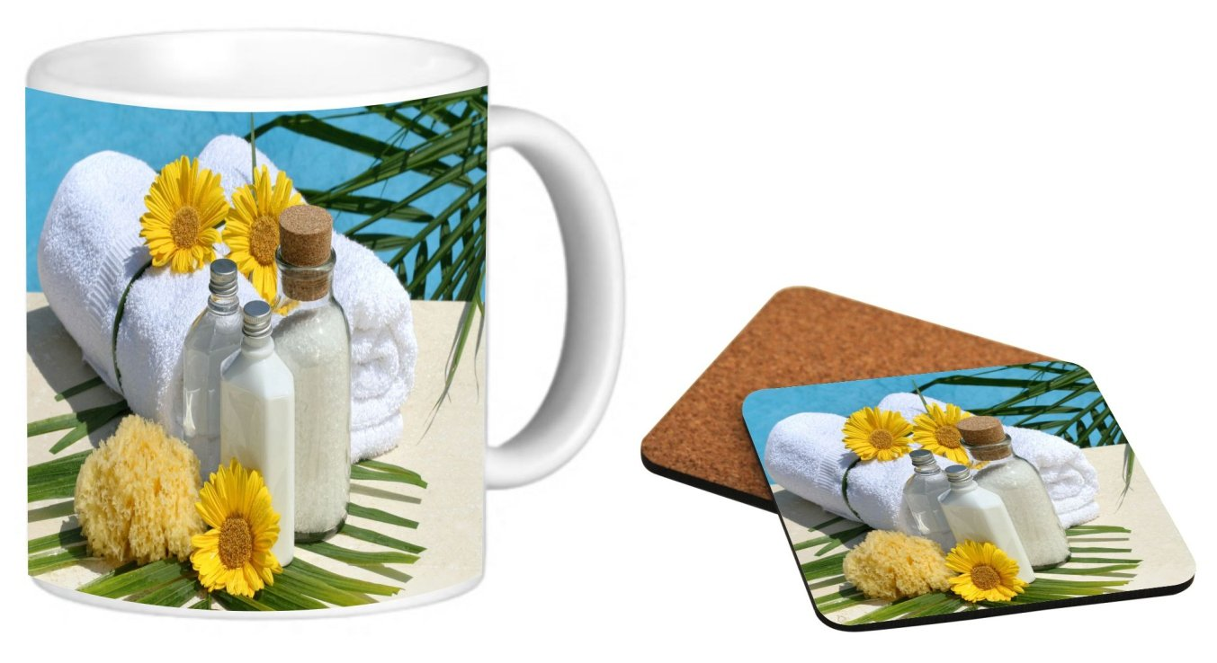 Rikki Knight Day at the Spa Design Photo Quality 11 oz Ceramic Coffee Mug + Matching Square Cork Backed Coaster