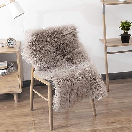 Amazoncom Leevan Sheepskin Rug Faux Fur Rug Supersoft Fluffy Chair