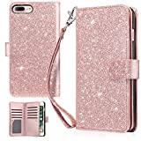 iPhone 7 Plus Case, iPhone 8 Plus Wallet Case, UrbanDrama Glitter Shiny Faux Leather Magnetic Closure Credit Card Slot Cash Holder Protective Case for iPhone 7 Plus/iPhone 8 Plus 5.5', Rose Gold