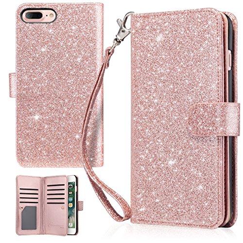 "iPhone 7 Plus Case, iPhone 8 Plus Wallet Case, UrbanDrama Glitter Shiny Faux Leather Magnetic Closure Credit Card Slot Cash Holder Protective Case for iPhone 7 Plus / iPhone 8 Plus 5.5"", Rose Gold"