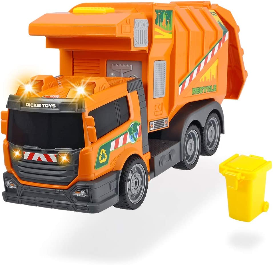 Dickie- Garbage Collector vehículo, Color Naranja (Simba Toys 3308383)