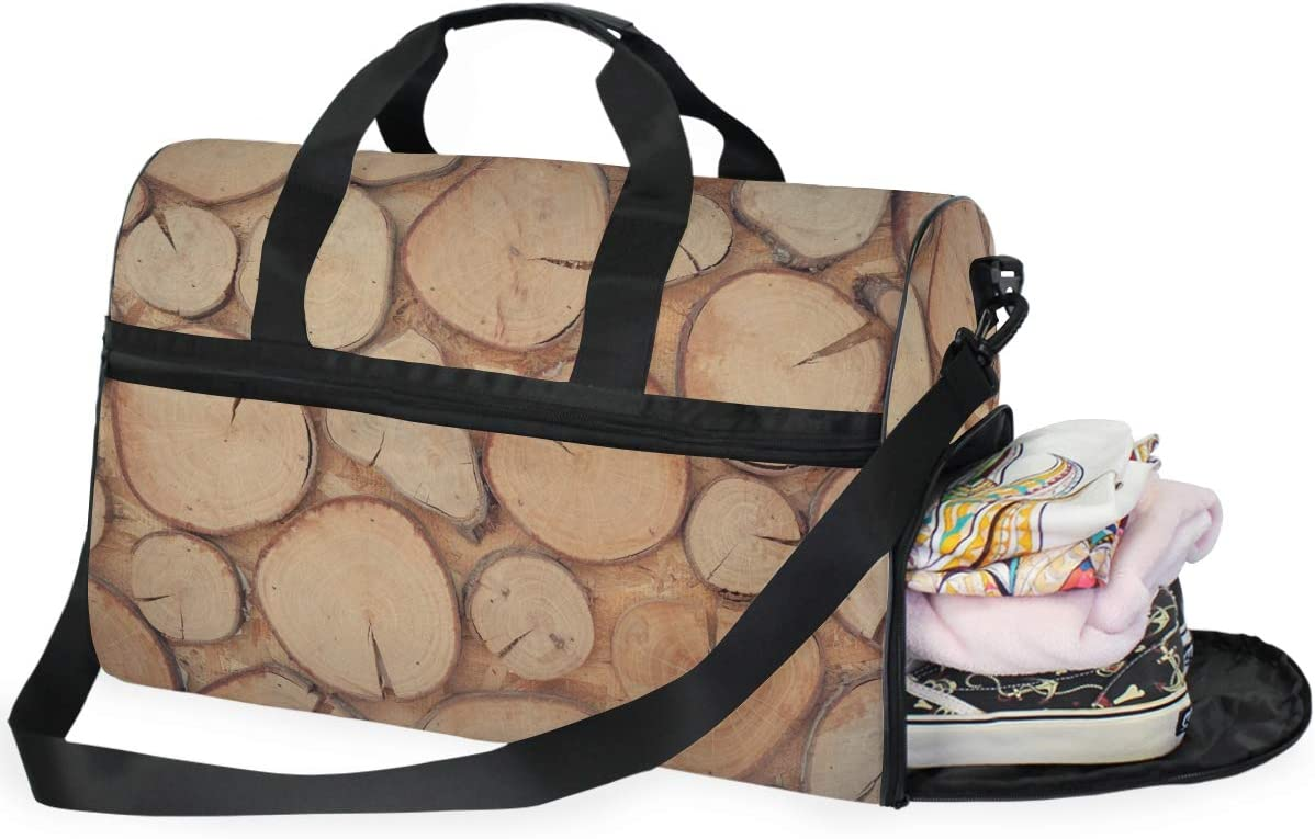 FAJRO Gym Bag Travel Duffel Express Weekender Bag Awesome Wood Wall Carry On Luggage with Shoe Pouch