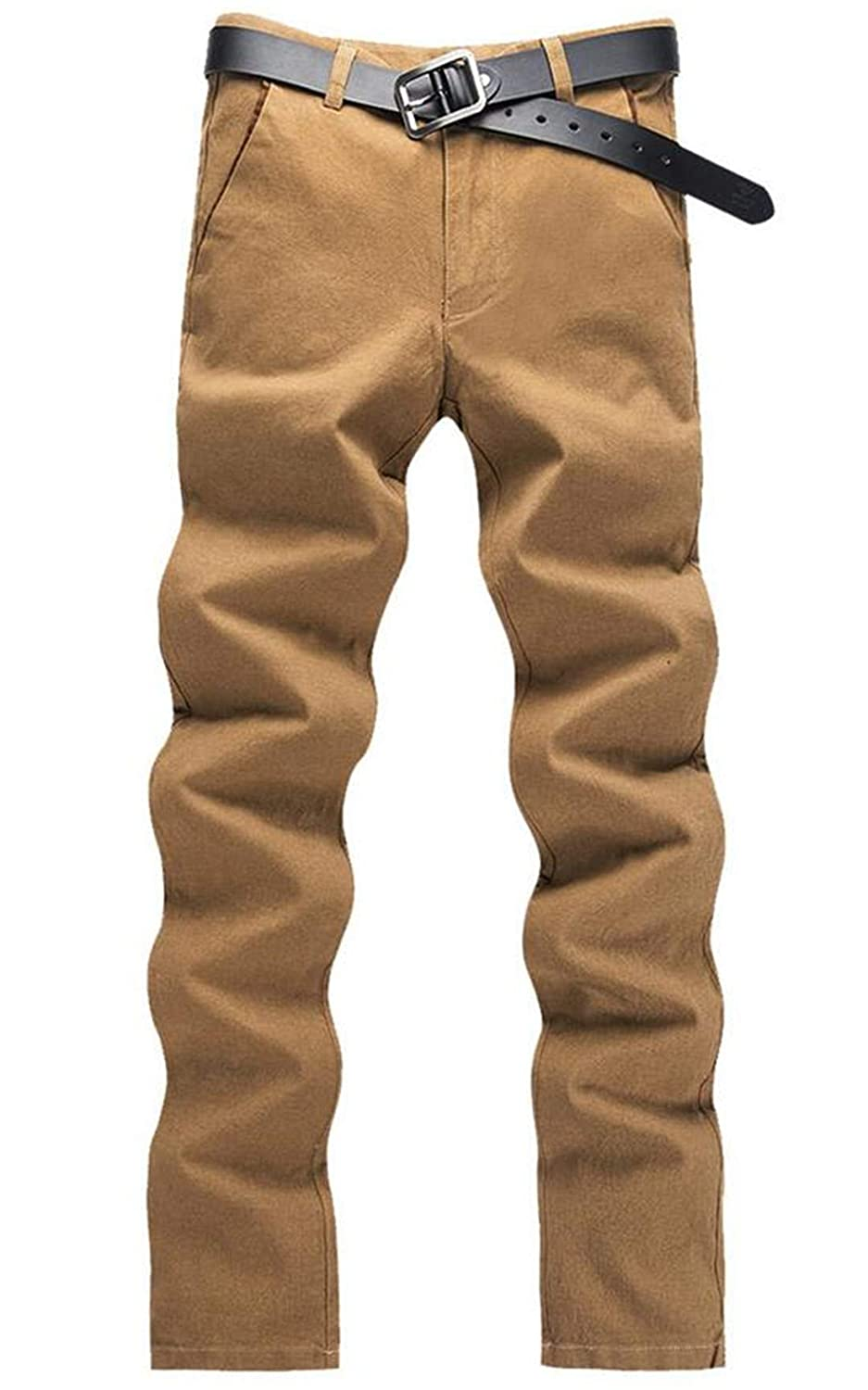 JXG Men Cotton Slim Fit Straight-Fit Flat-Front Work Pants with Pockets