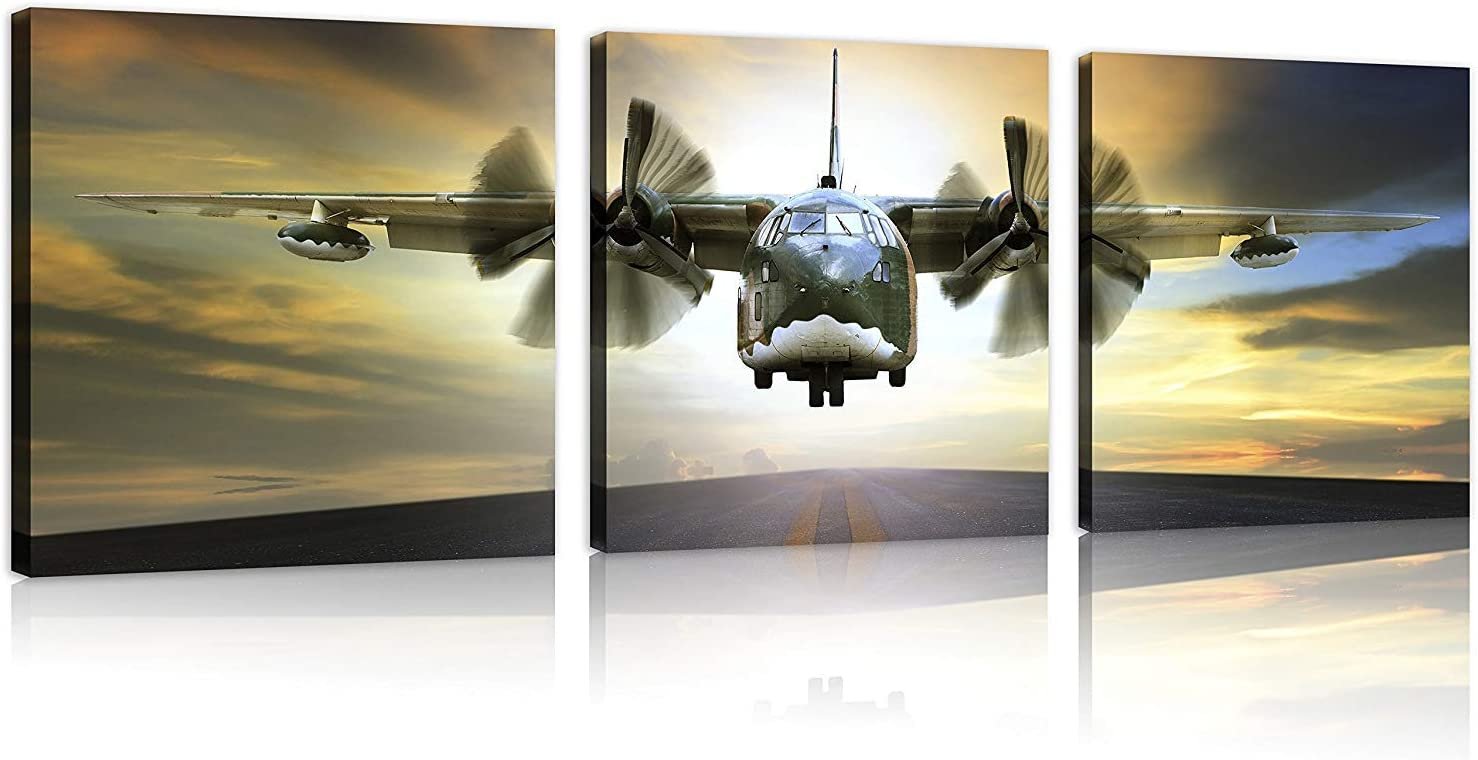 TutuBeer 3 Panels Plane Picture Aviation Art Airplane Decor Vintage Airplane at Sunset Old Paper Aircraft Art Plane Decor Stretched and Framed Vintage Airplane Print for Home Decor, 3 pcs/set