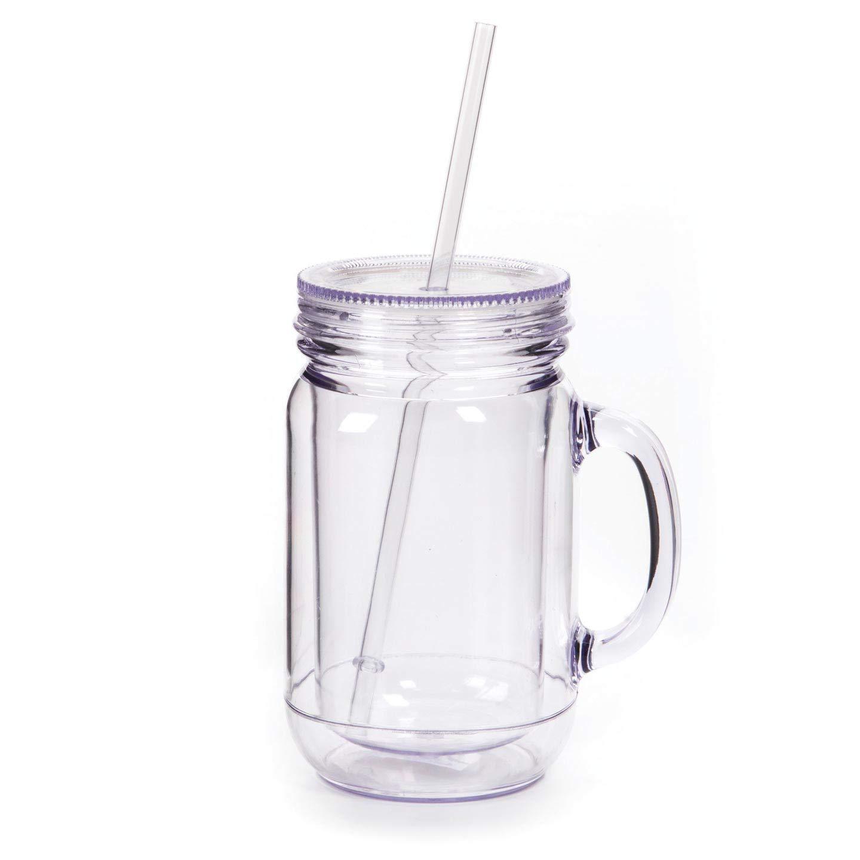 cc5b5e52bd Amazon.com   Darice Bulk Buy DIY Double Wall Mason Jar Mug Clear 20 ounce  (12-Pack) 8601-93: Coffee Cups & Mugs